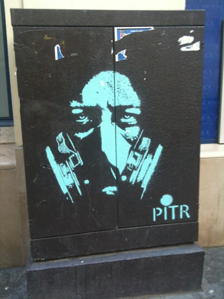 PITR Stencil Graffiti Paris Gas Mask Bastille